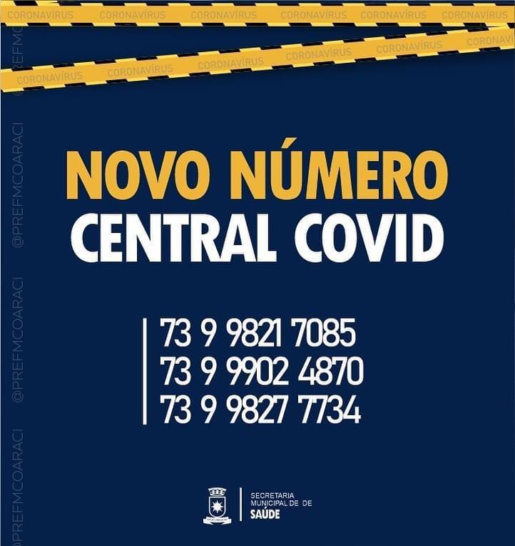 Novos Contatos da Central de Atendimento ao Coronavírus.