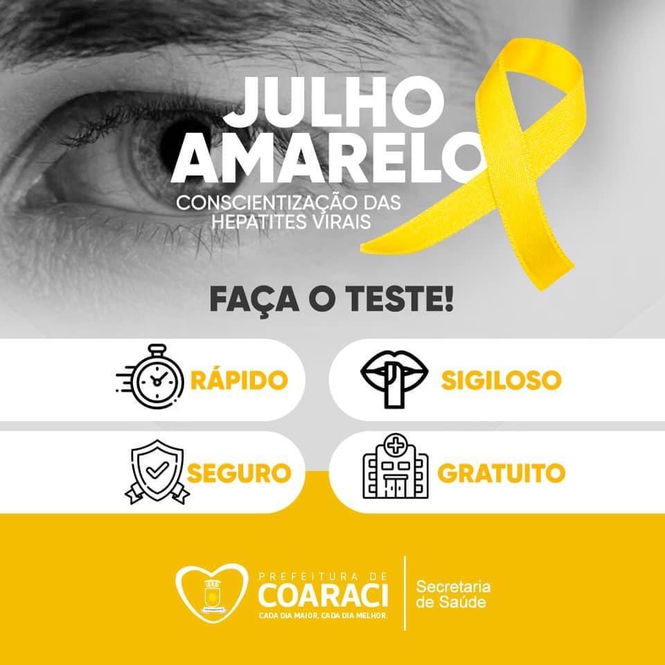 Campanha do mês de Julho Amarelo é voltada para a conscientização das hepatites virais. 